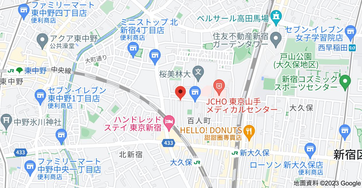 日本〒169-0073 Tōkyō-to, Shinjuku-ku, Hyakuninchō, 2 Chome−24−20 TOPルーム新宿地圖